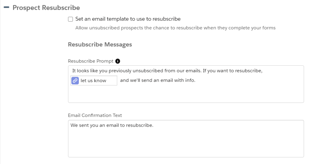 Pardot resubscribe screenshot