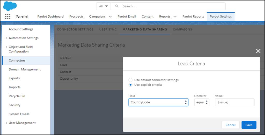 Pardot data sharing