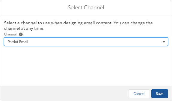 select channel for email builder