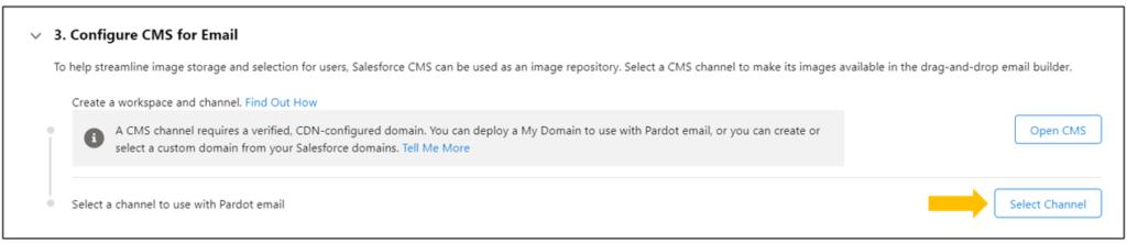 Pardot Email Builder Select Channel