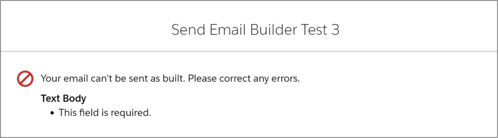 Email Content Error Message