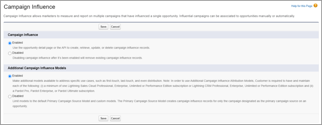 Salesforce Campaign Influence Settings