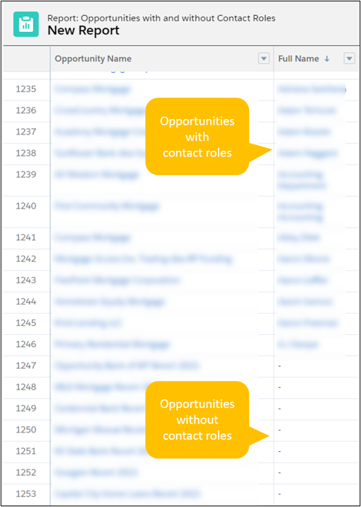 Salesforce Report with and without contact roles