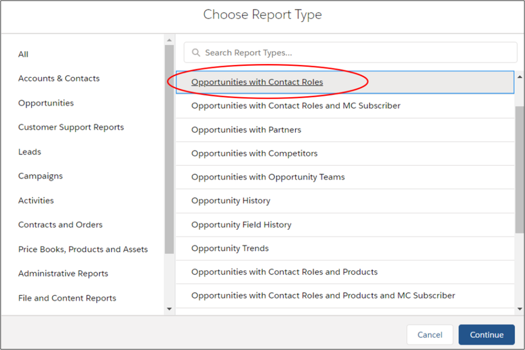Salesforce report with contact role