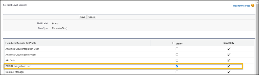 Salesforce B2BMA Integration User field settings