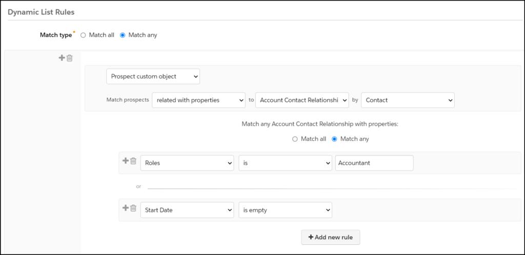 Pardot custom object dynamic list