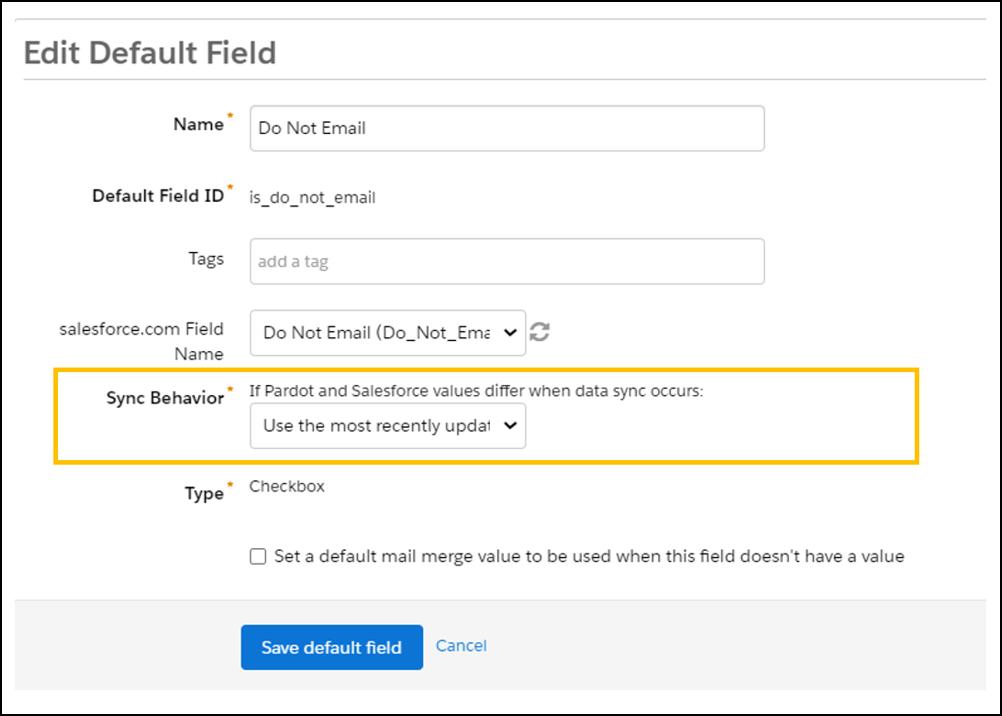 Pardot mailability sync behavior