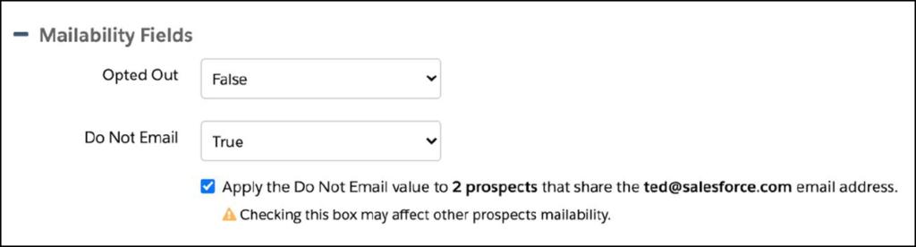 Pardot mailability duplicate warning