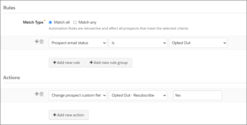 pardot automation rule resubscribe