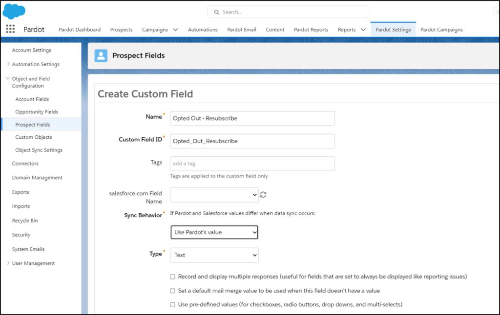 pardot custom field resubscribe