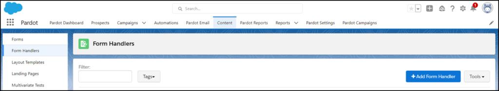 pardot add form handler