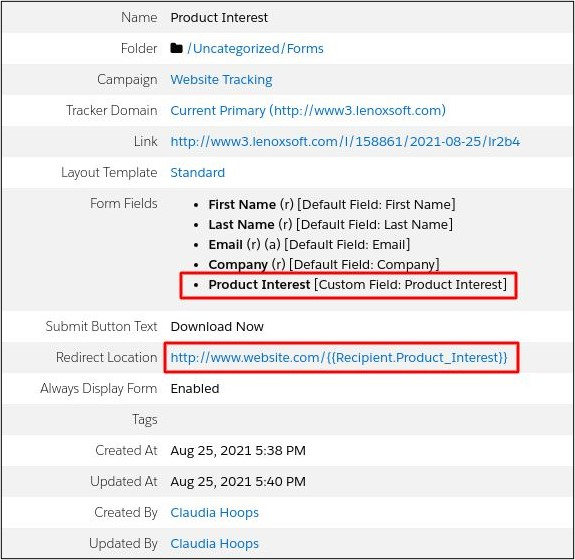 Pardot Dynamic URLs