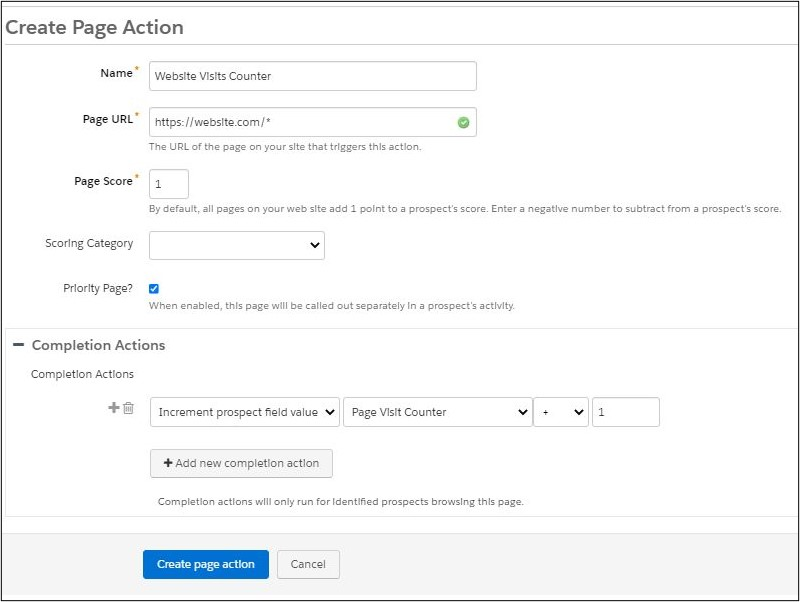 Pardot Page Action Counter